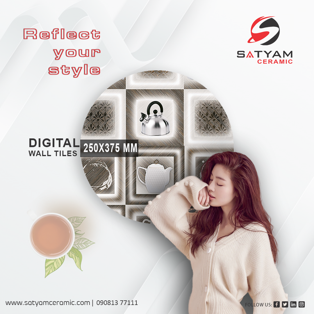 Reflect Your Style Satyam Ceramic Digital Wall Tiles 250x375 Mm Satyamceramic Satyamtiles Digitalwalltiles Walltil Digital Wall Wall Tiles Gallery Wall