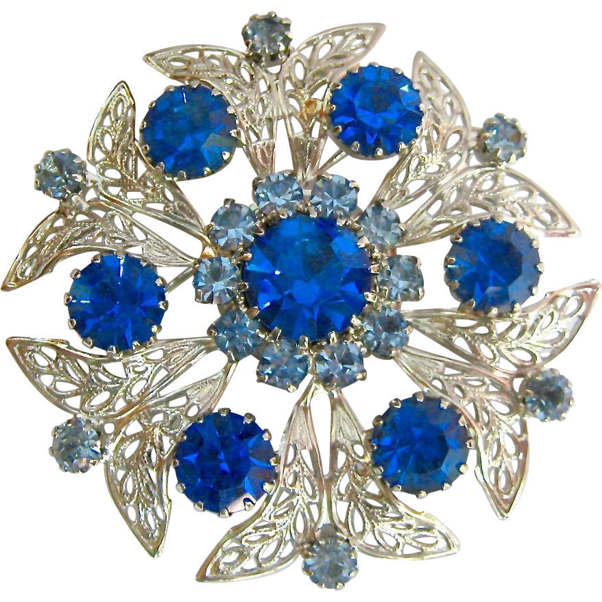 Merdia Created Crystal Brooch for Women Shiny Flower Teardrop Brooch Pin - Blue