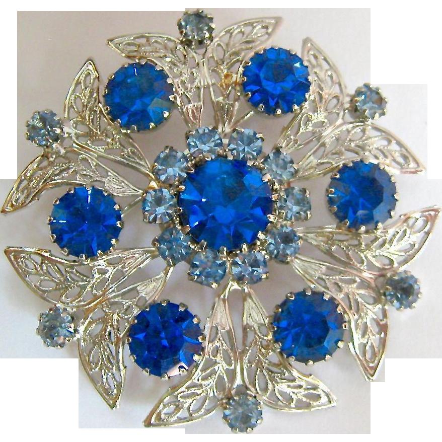 Merdia Created Crystal Brooch for Women Shiny Flower Teardrop Brooch Pin - Blue RzsOrz2Az