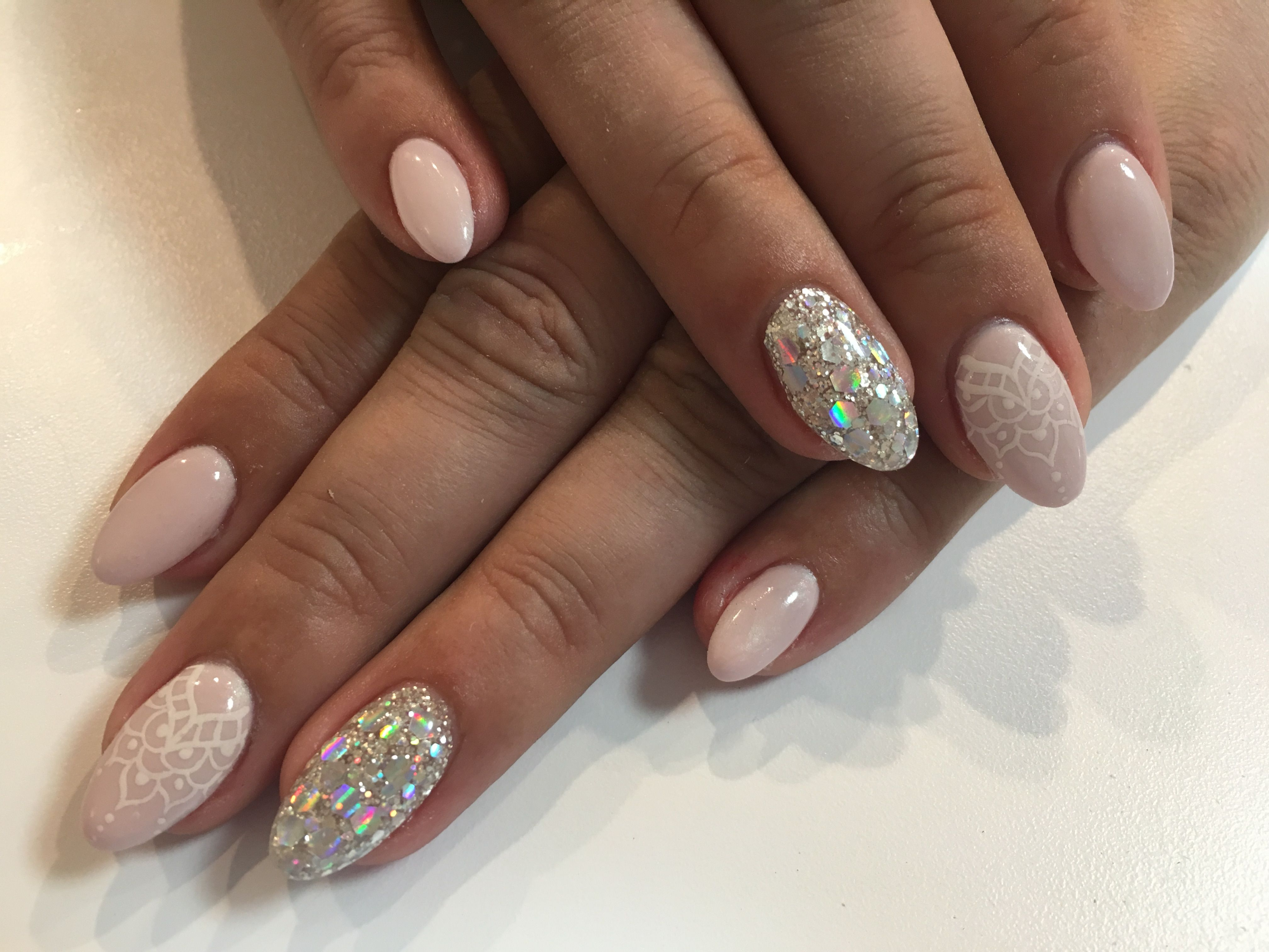 Pastel Pink And Silver Sparkle Spring Almond Shaped Nails Blue