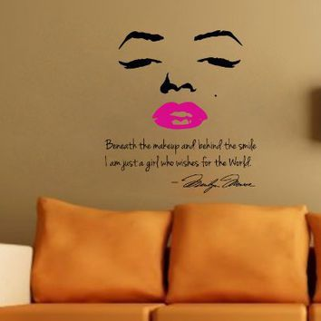 Marilyn Monroe Wall Decal Decor Quote Face PINK Lips Large