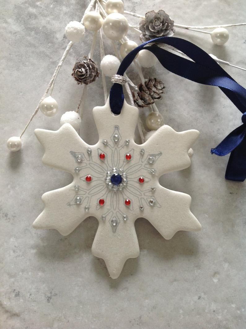 Polymer Clay Snowflake Ornament Etsy Polymer Clay Christmas Polymer Clay Ornaments Diy Christmas Ornaments