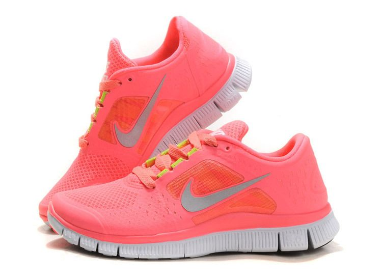 newest 902ee 317df Hot Punch Nike Free Run 3 Chaussures de Course Femme Coral Rose QX141