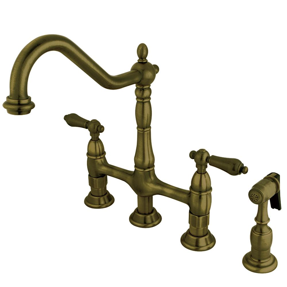 Kingston Brass Victorian Cross 2-Handle Bridge Kitchen Faucet with ...