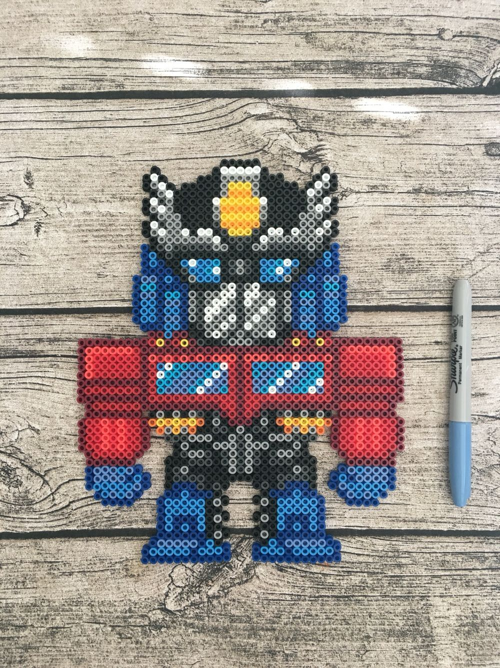 Perler Bead Optimus Prime Transformers Pixel Art Hama
