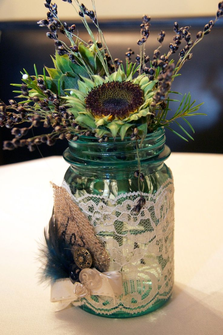 Adorable mason jar centerpieces photo by kelly