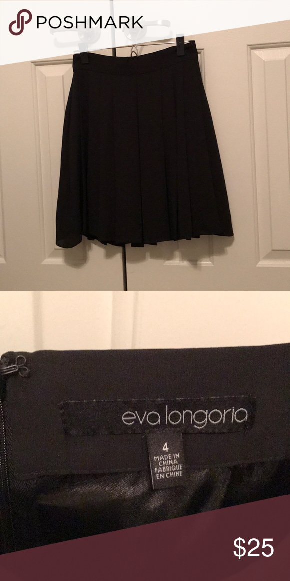 3649b1e77 Above knee box pleated black skirt Beautiful black skirt. Professional A  line cut above the knee. Eva Longoria brand size 4. Perfect pleats. Zip  closure in ...