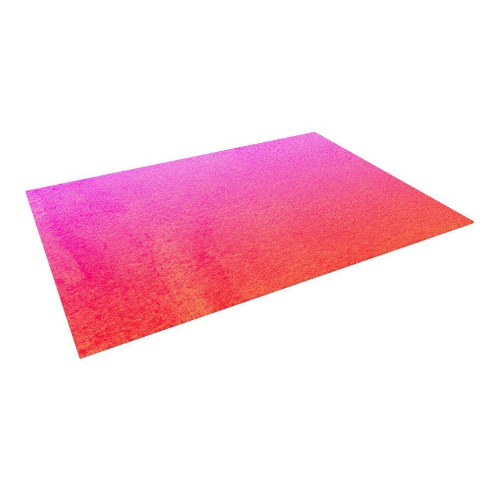 """Monika Strigel """"Fruit Punch"""" Magenta Orange Indoor / Outdoor Floor Mat"""