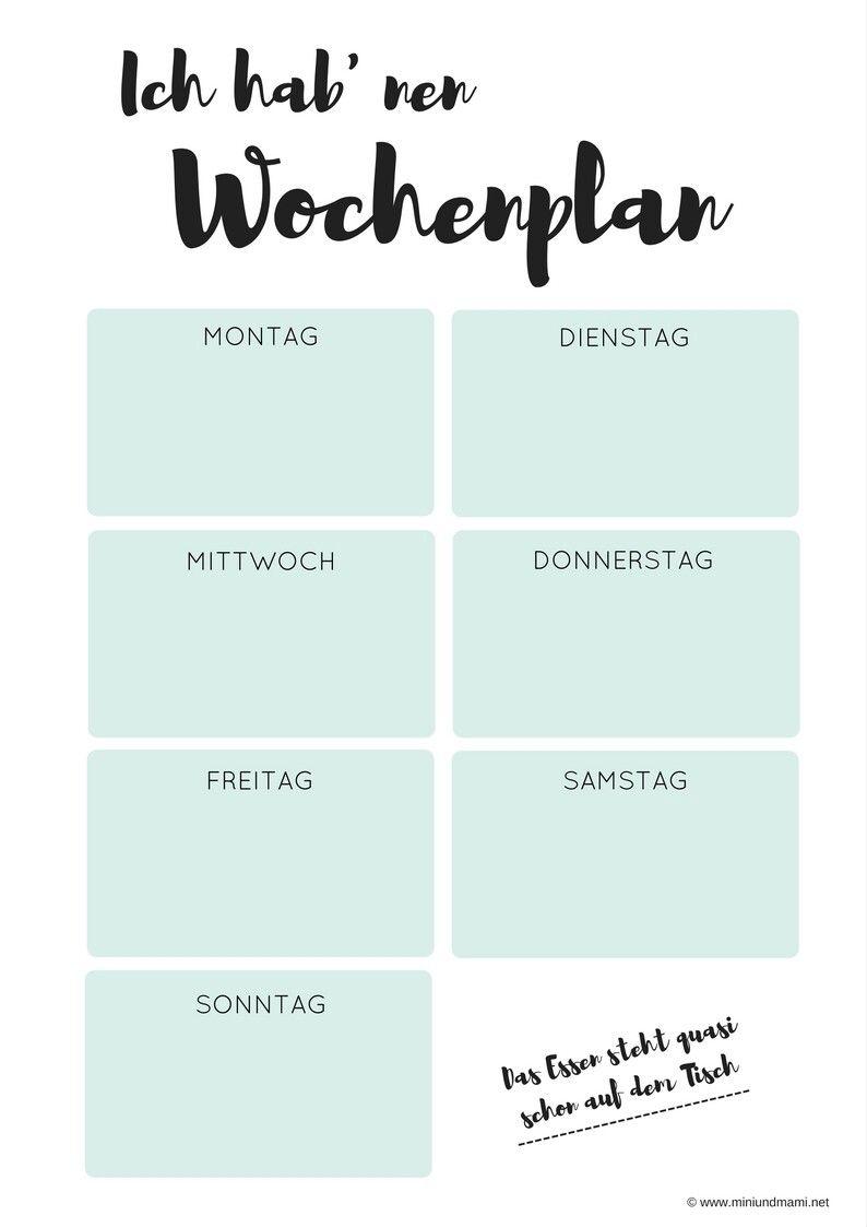 freebie wochenplan speiseplan kostenlose druckvorlage free print wochenplanung planung. Black Bedroom Furniture Sets. Home Design Ideas
