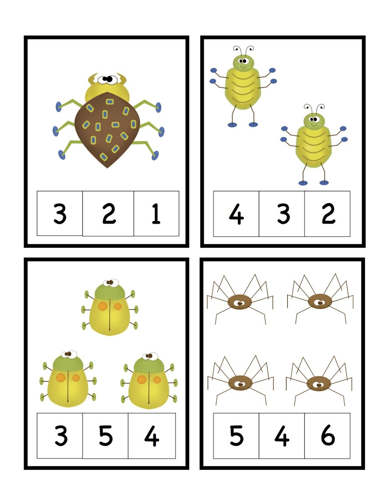 Preschool Printables Bug Number Cards