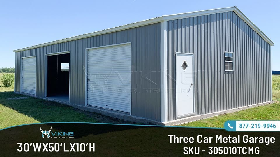 30x50x10 Three Car Metal Garage Metal Garages Garage Three Car Garage