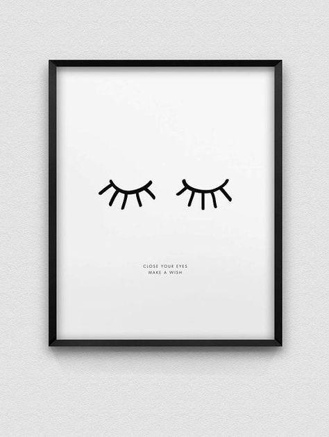 inspirierende Druck / / schließen Sie Ihre Augen machen einen Wunsch print / / schwarz und weiß zu drucken / / nordischen Stil home decor / / Schrift drucken / / Traum Druck