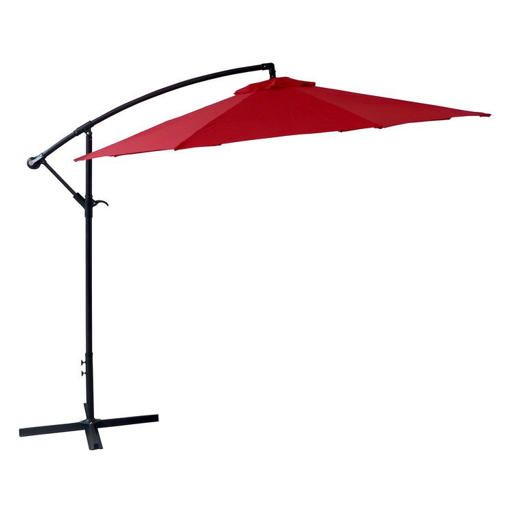 Offset Red Outdoor Umbrella 10 Ft Outdoor Umbrella Patio Patio Umbrella