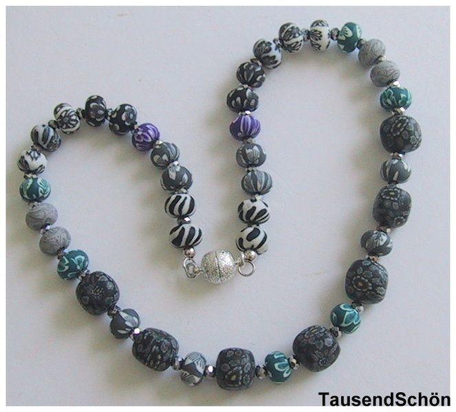 Farbkombinationen Blau Grau: Kette Mit Verschiedenen Fimoperlen Mit Kleinem Musten In