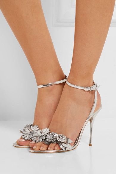 Lilico Appliquéd Metallic Leather Sandals - Silver Sophia Webster Sale Inexpensive Limited Edition For Sale C0MQNb5Ber