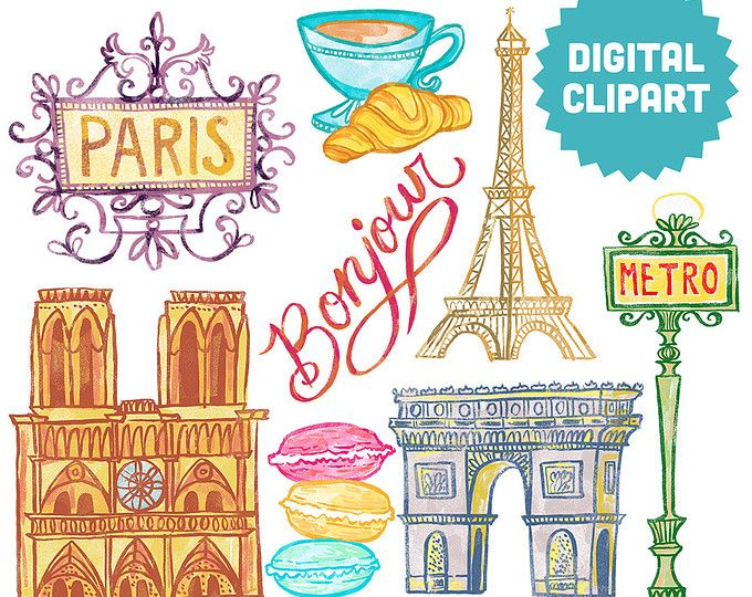 paris digital clipart instant download illustration france travel rh pinterest com french clipart french clip art pictures