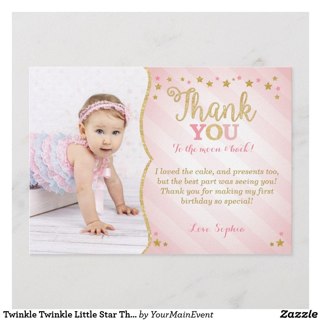 Twinkle Twinkle Little Star Thank You Card Zazzle Com Twinkle Twinkle Little Star Birthday Invitations Twinkle Twinkle