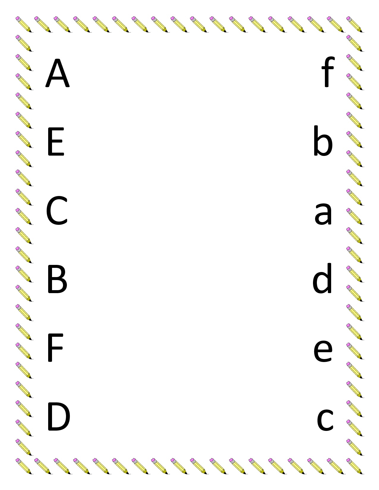 Worksheets Kindergarten Matching Worksheets kindergarten worksheets preschool printables for image detail matching upper lowercase letter a f