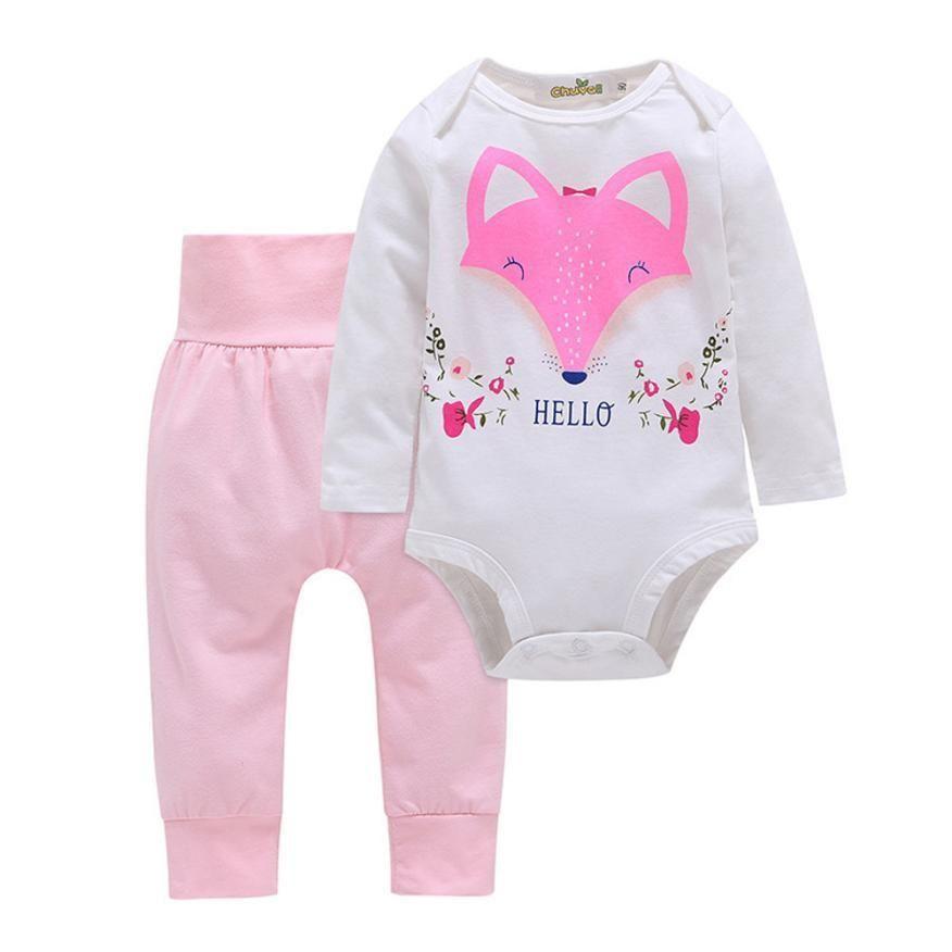 02cea086cebb Hello Pink Fox Romper Set