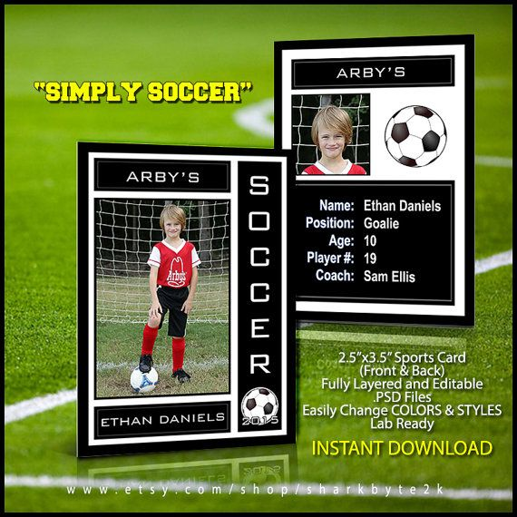 2017 soccer sports trader card template for photoshop simply soccer