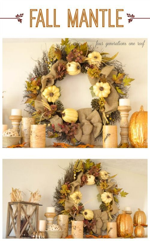 Decorating Around Harvest Gold Bathroom: Decorating Our Rustic Fall Mantle