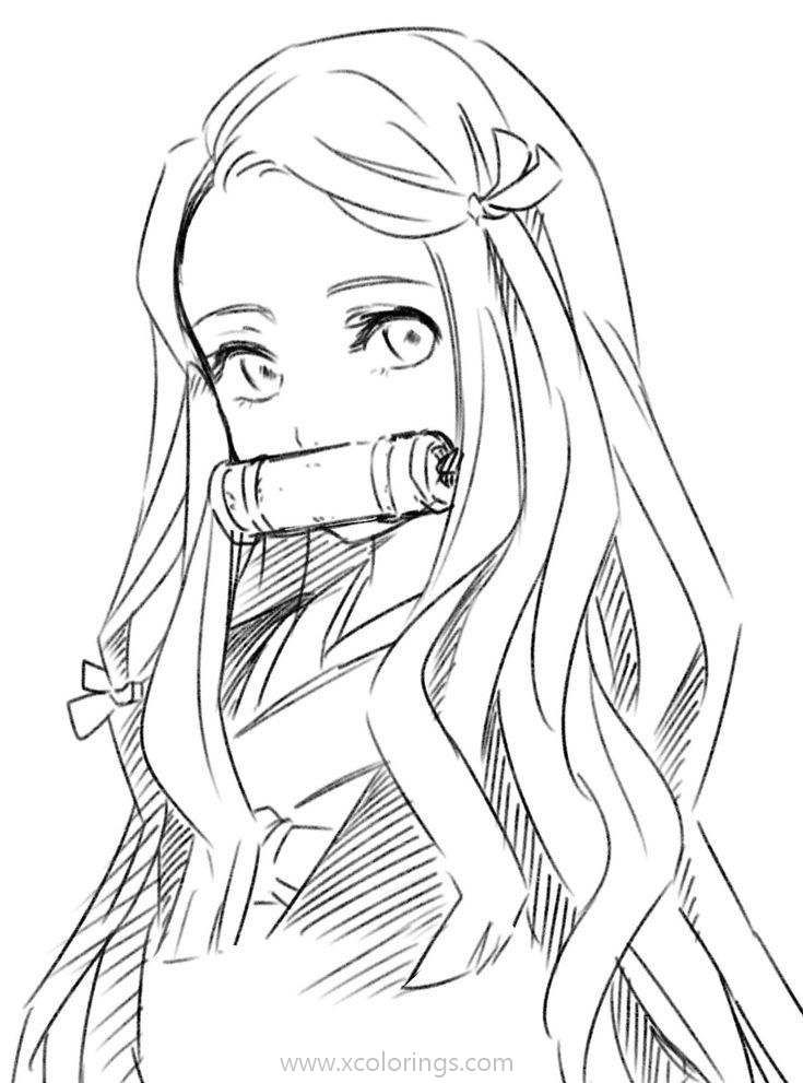 Photo of Demon Slayer Coloring Pages Nezuko Sketch – XColorings.com