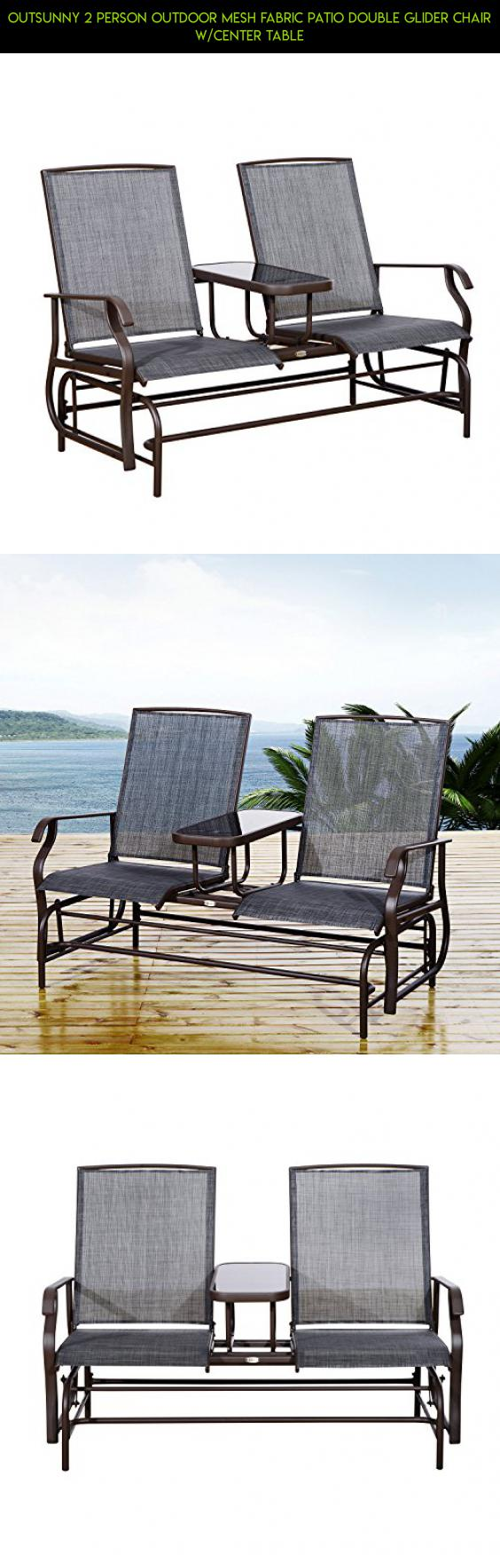 Outsunny 2 Person Outdoor Mesh Fabric Patio Double Glider Chair W/Center  Table #tech