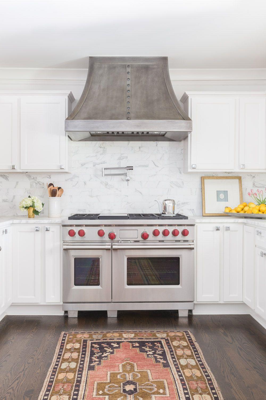 White Kitchen Design With Stainless Steel Appliances And Patterned Runner  Rug | AyssaRosenheck2016 For Austin Bean