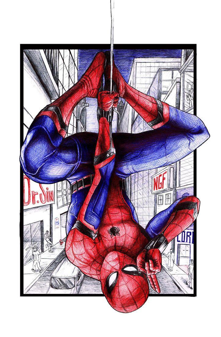 #Spider-Man #Fan #Art. (Spider Man) By: SilvestrePeba. ÅWESOMENESS!!!™ ÅÅÅ+ (Done in Pen!)