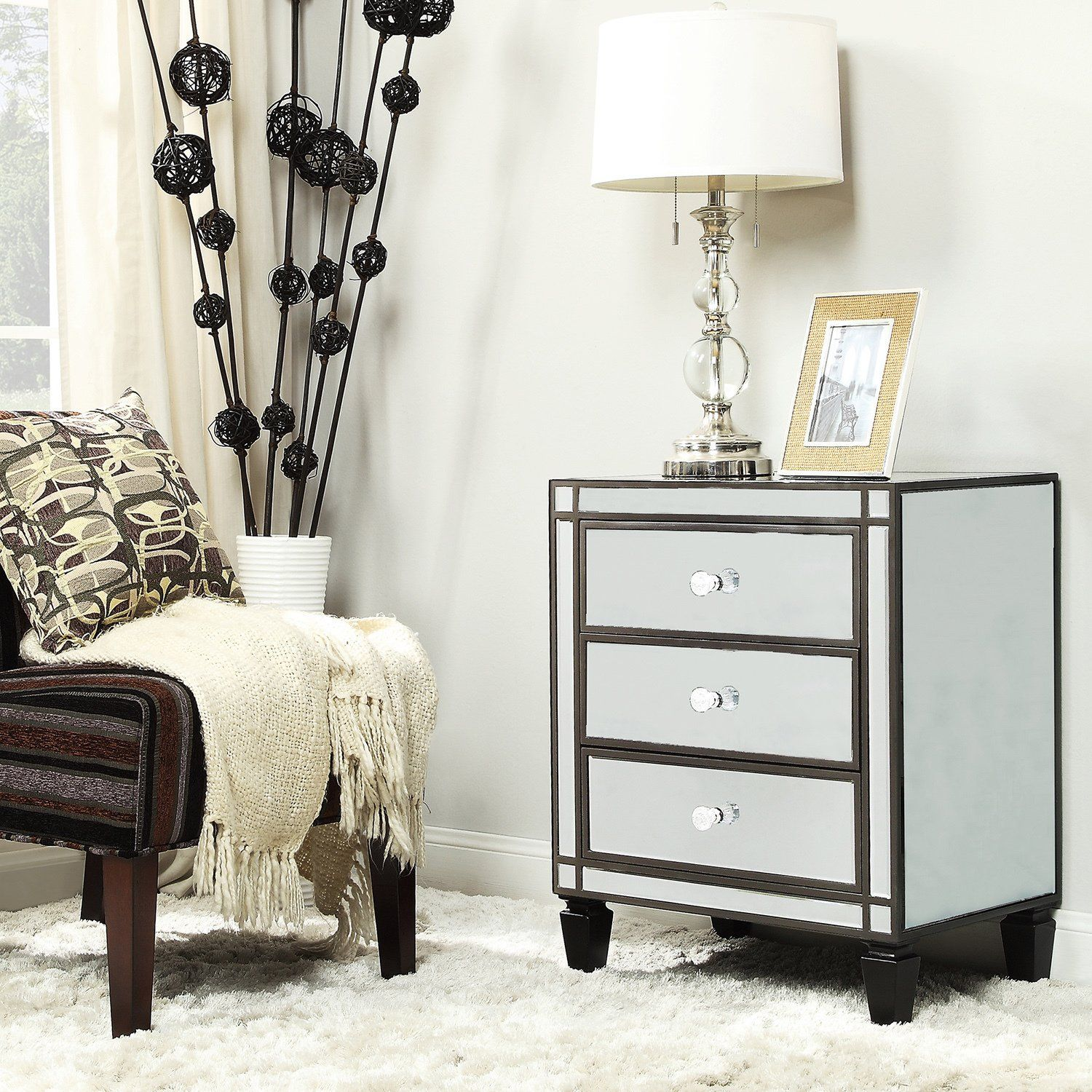 Metro Shop INSPIRE Q Escanaba Mirrored 3-drawer Black Trim Accent  Table-Nihoa Mirrored. Sofa End TablesBedside ...