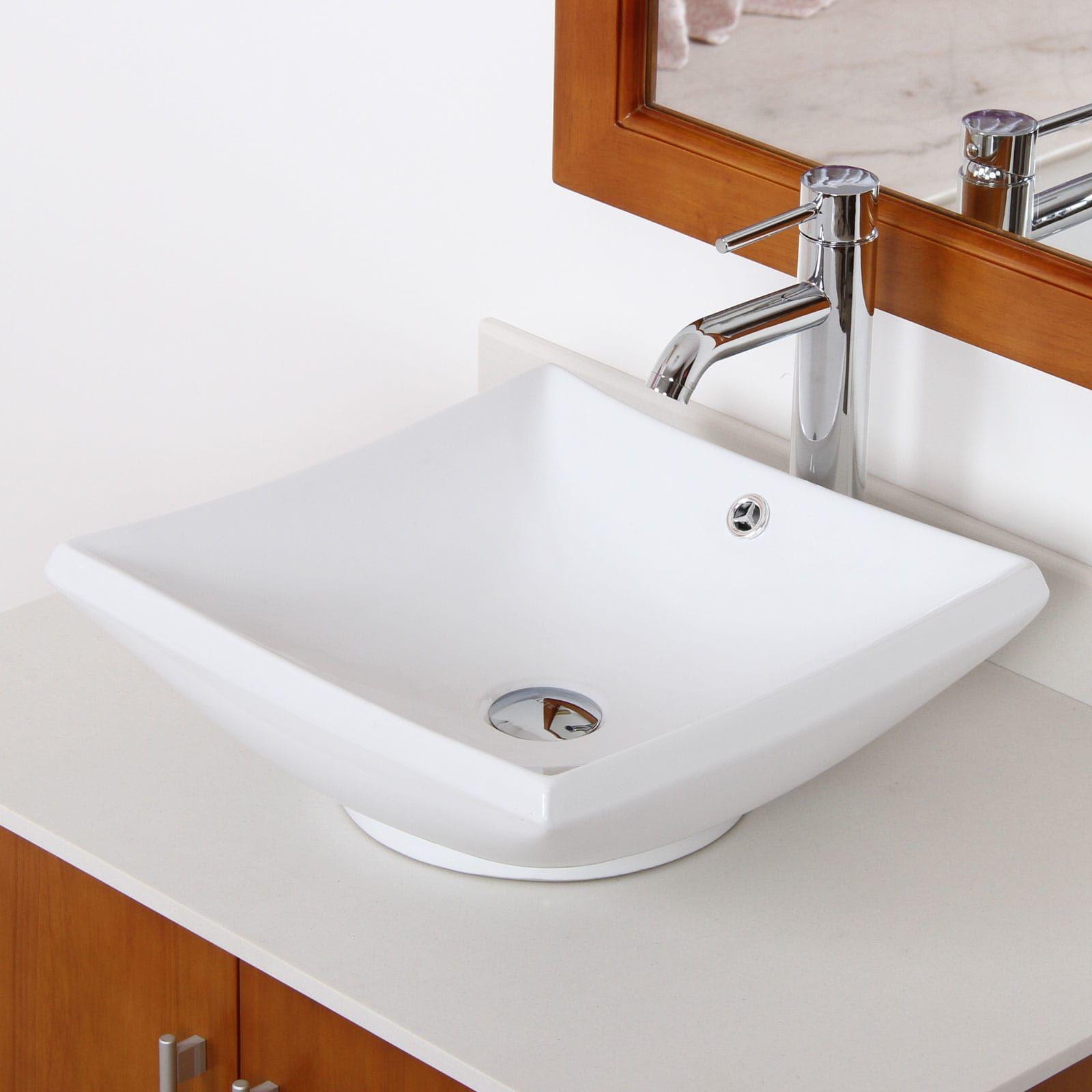 Elite 4125f371023c High Temperature Grade A Ceramic Bathroom Sink With Square Design And Chrome Finish Faucet Combo Bathroom Faucets Bathroom Single Handle Bathroom Faucet