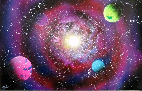 Spray Paint Art Original Space Galaxy Large Poster By Eacart