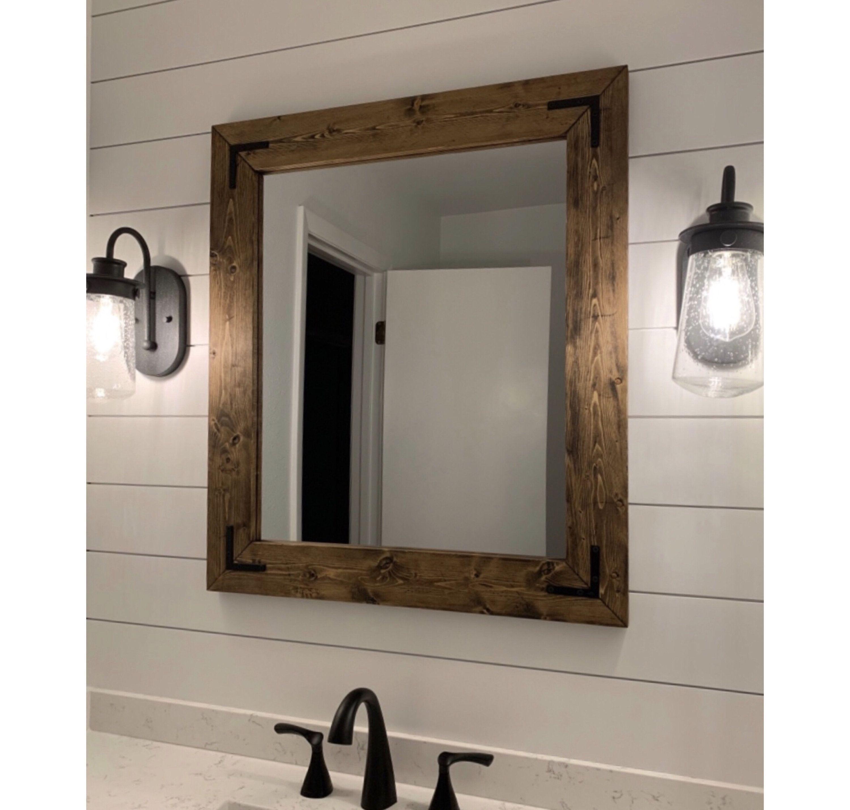 Dark Walnut Farmhouse Mirror Framed Mirror Rustic Wood Mirror Bathroom Mirror Wall Mirror Vanity Wood Mirror Bathroom Farmhouse Mirrors Wood Framed Mirror