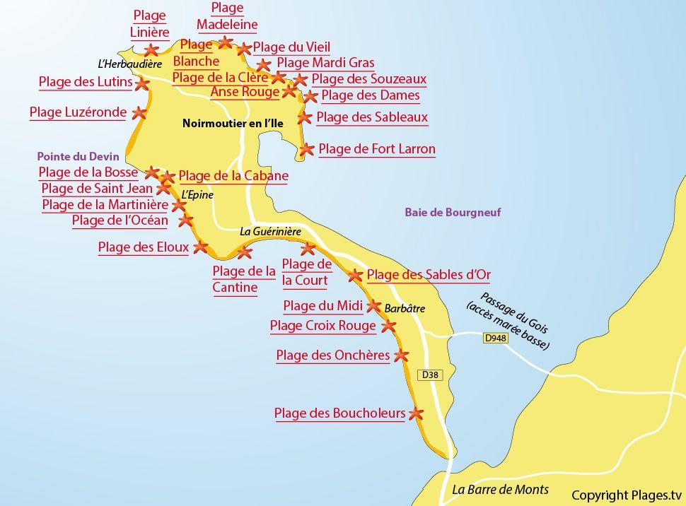 Plan Des Plages Sur L Ile De Noirmoutier Noirmoutier Ile De Noirmoutier Plage En France