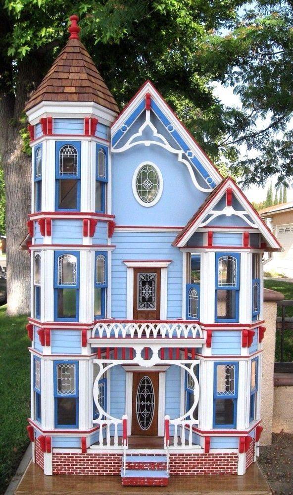 Beautiful Assembled Painted Victorian Wooden Dollhouse 1 16 3 Story 43x22x18 Wooden Dollhouse Doll Houses For Sale Miniature Houses