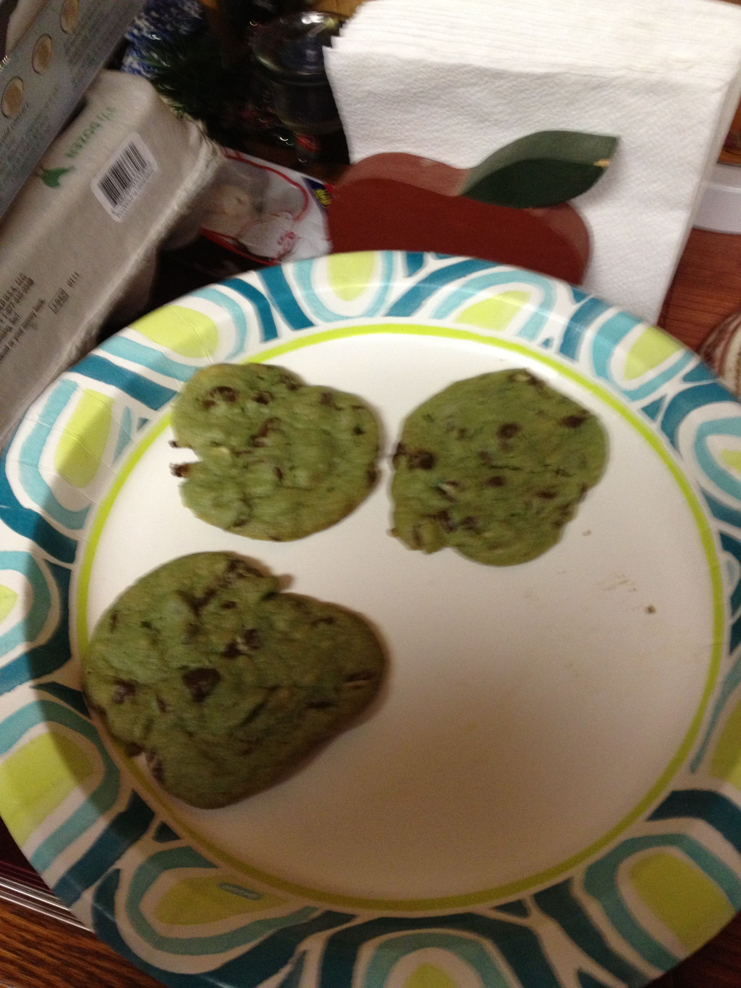 Mint chocolate chip cookies. So yummy!!