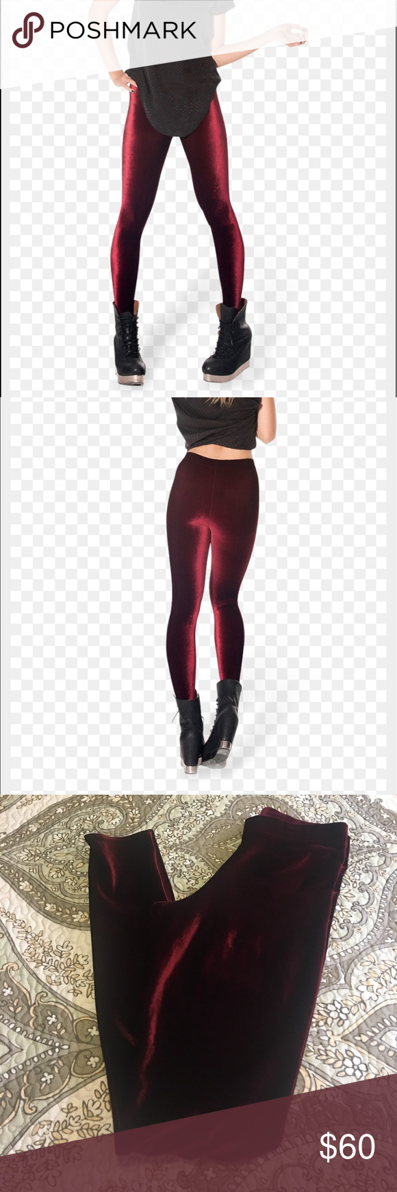 Blackmilk mulled wine velvet leggings Blackmilk mulled wine leggings. Would love to trade for a size medium they are just to snug for me. Have never worn them. Blackmilk Pants Leggings