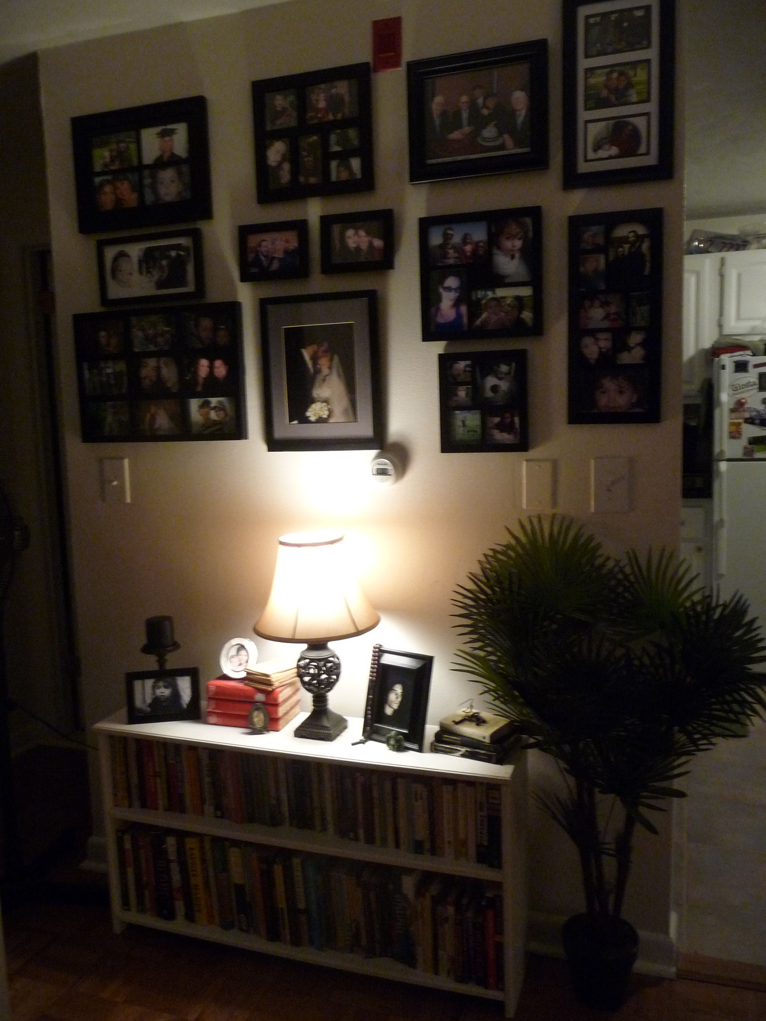 picture wall done in a very small hallway