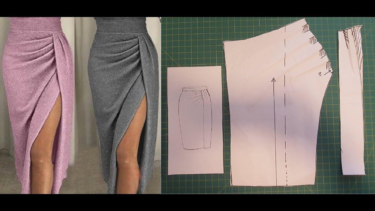 Diy - Como fazer molde de Saia drapeada com abertu