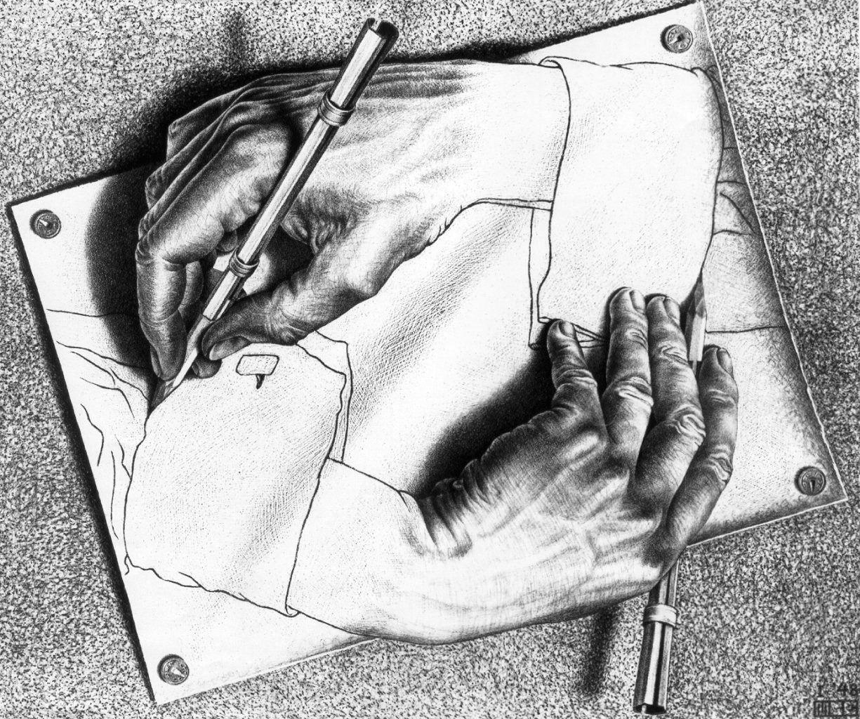 MC Escher /'Drawing hands/' FINE ART PRINT Escher Art Prints Large