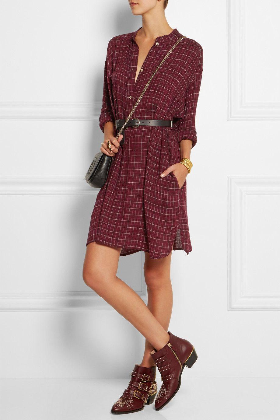 toile isabel marant mini robe chemise en flanelle carreaux peneloppe net a porter com. Black Bedroom Furniture Sets. Home Design Ideas