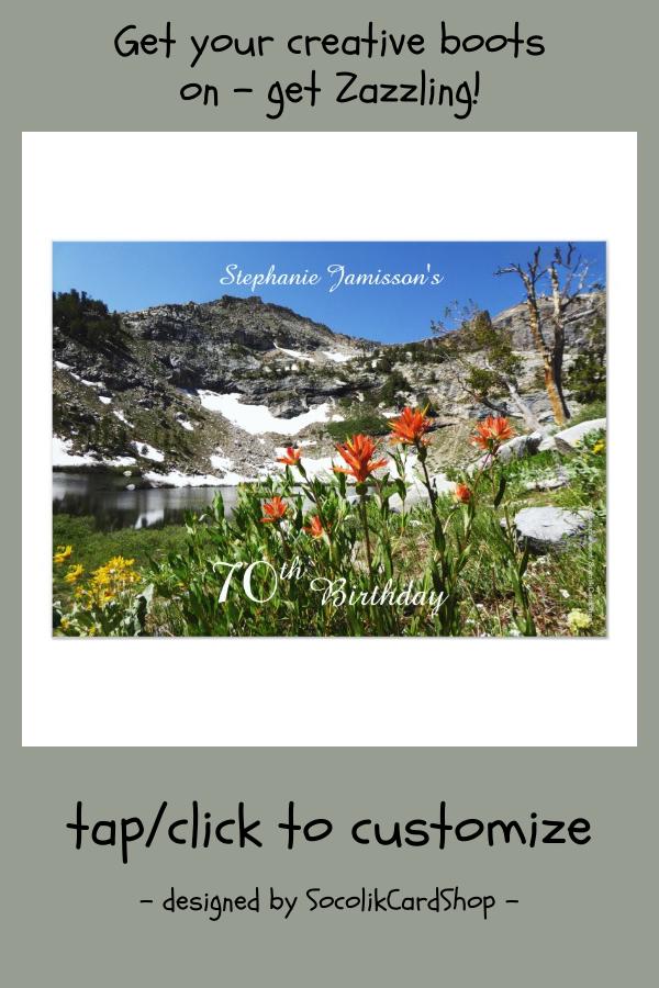 70th Birthday Invitation Mountains Wildflowers Invitation