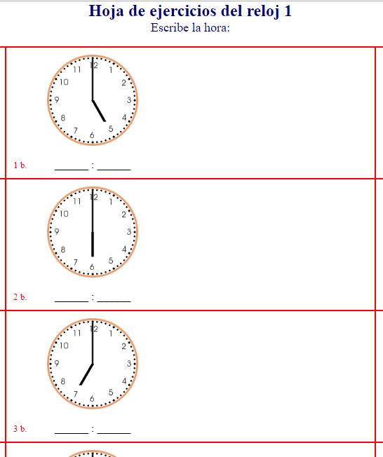 Lujoso Hojas De Trabajo De Reloj De Grado 1 Ilustración - hojas de ...