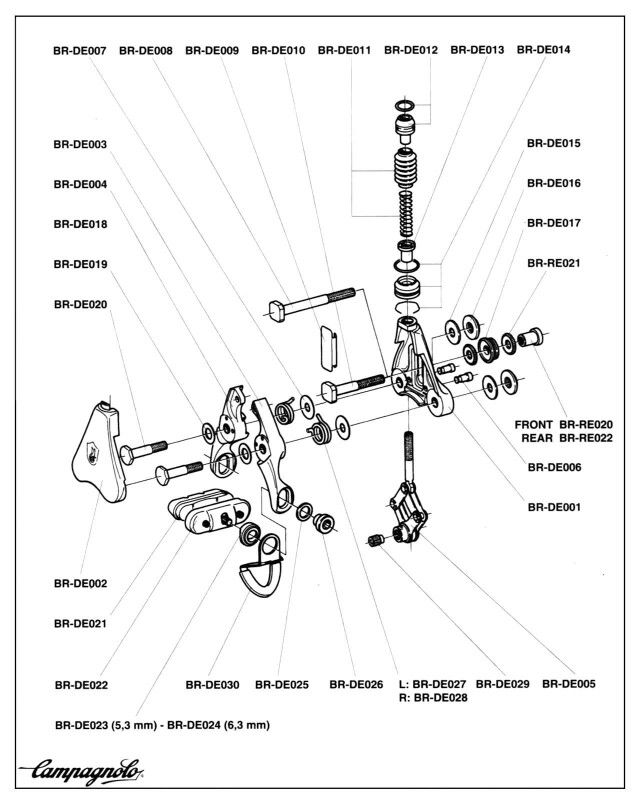 Campagnolo Delta Brake Exploded View Cycling Bike Components