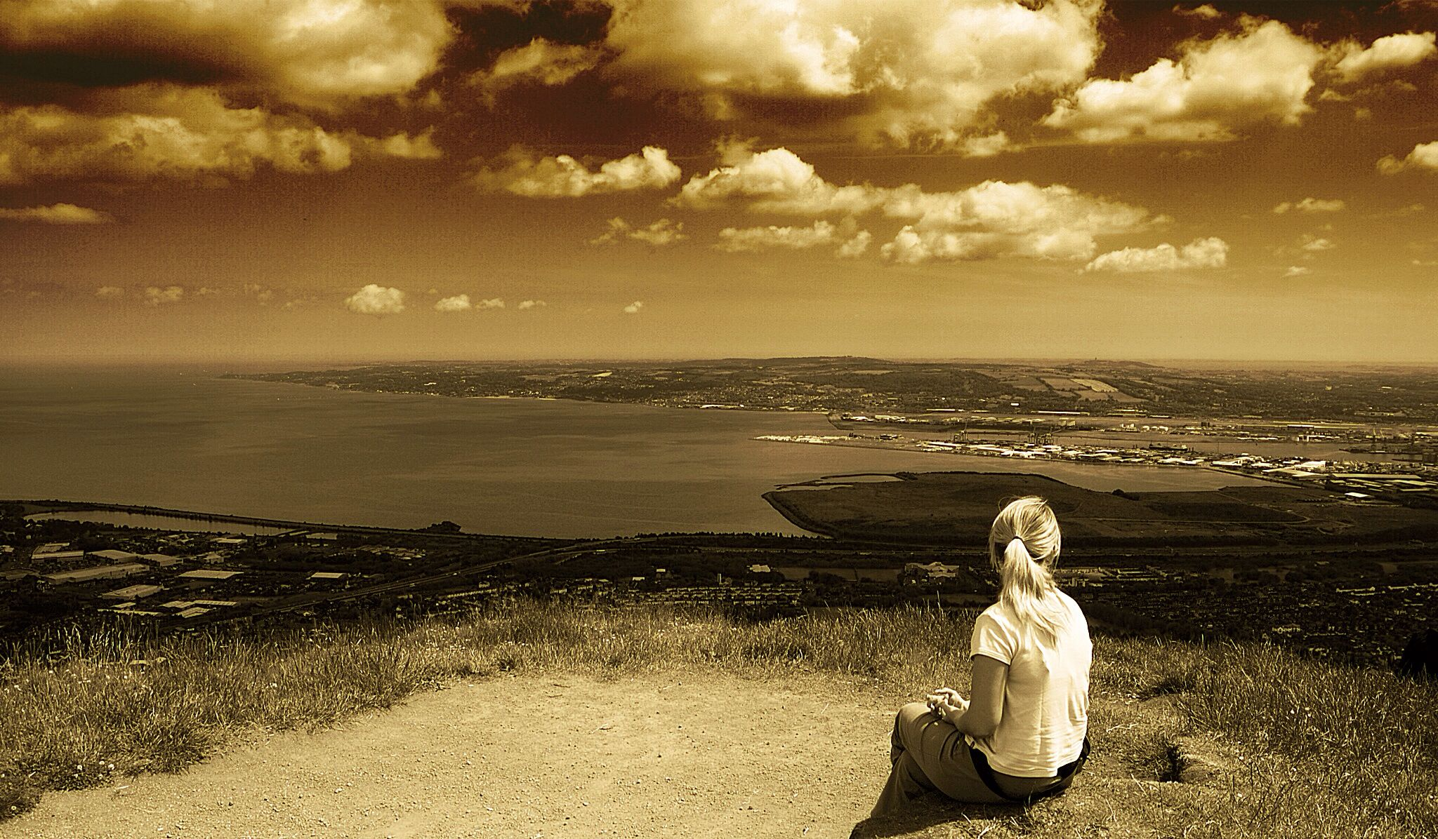 On top of Cave Hill overlooking Belfast Lough