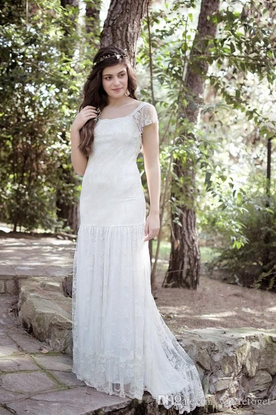 e540a89d25f Plus Size Wedding Dresses Mermaid Trumpet Square Neck Short Sleeve Bohemian  Country Wedding Dresses Lace 2015 Floor Length Bridal Gowns