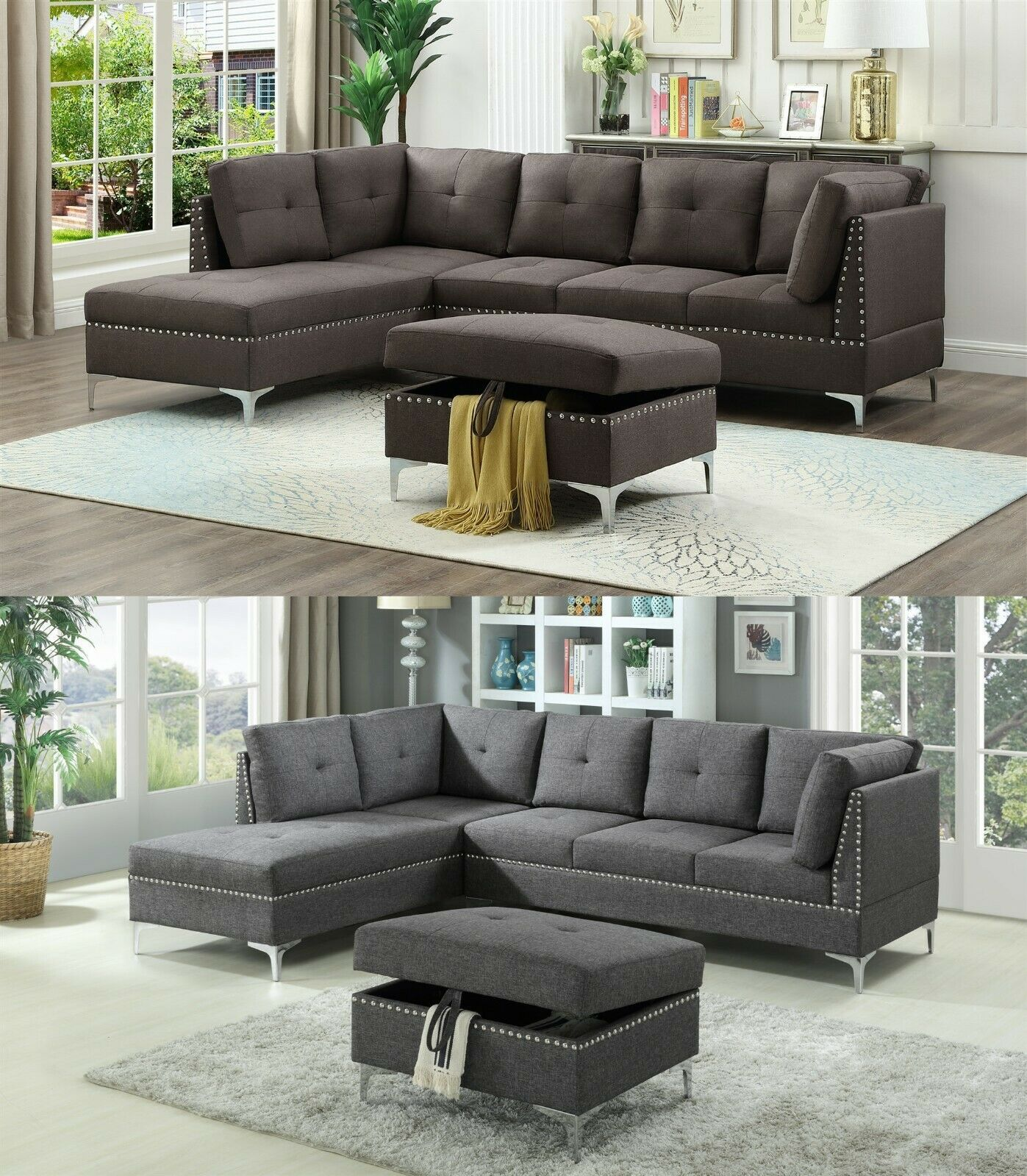 The Room Style 3 Piece Fabric Sectional Sofa Set With Ottoman In Brown Gray Sofa Set Ideas Of Sofa Set Sofa Fabric Sectional Sofas Sofa Set Grey Sofa Set