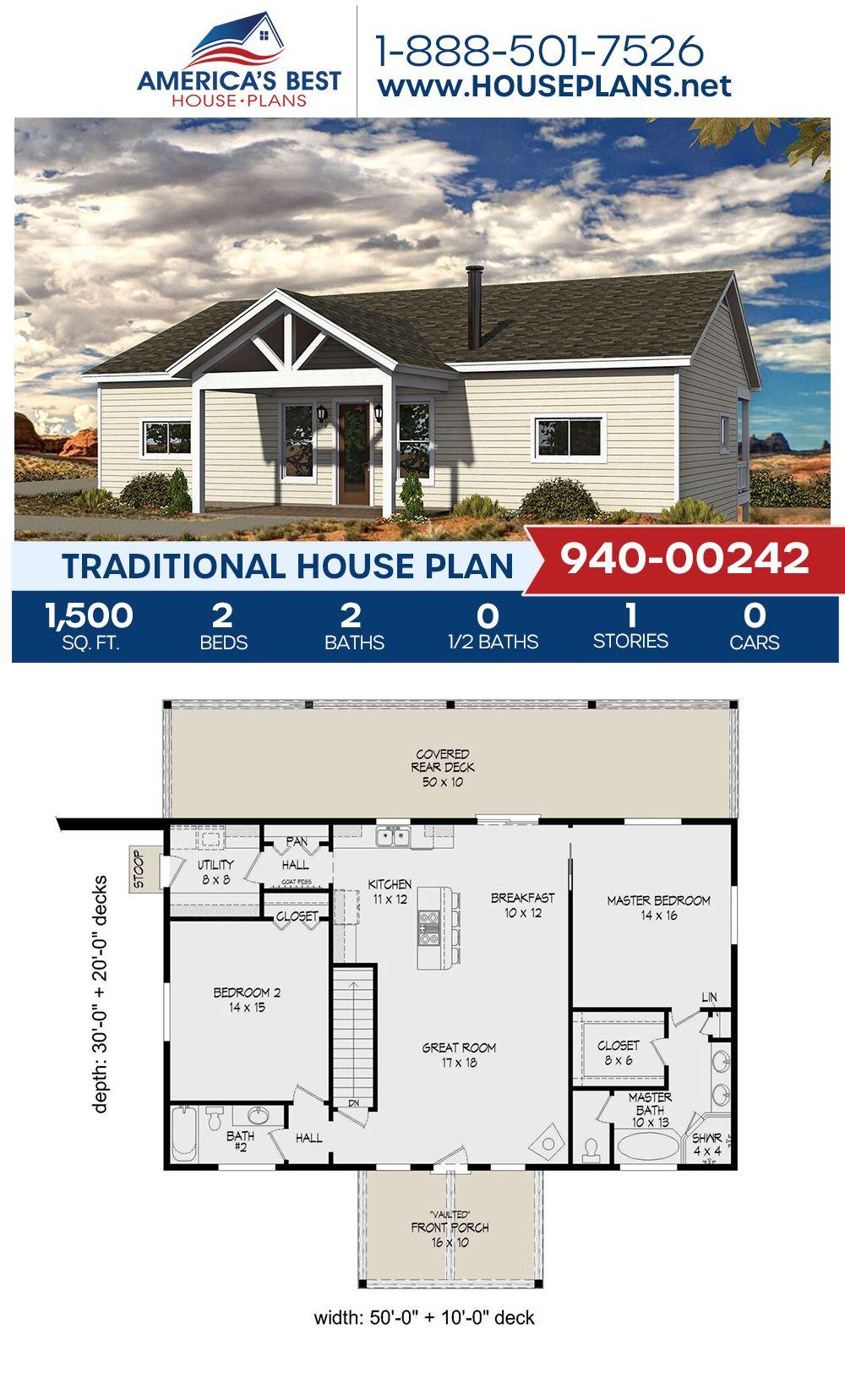 House Plan 94000242 Traditional Plan 1,500 Square Feet