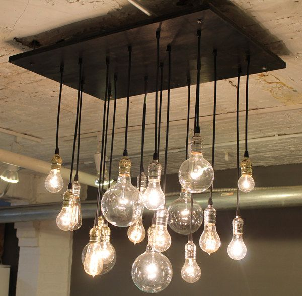 Bespoke Urban Chandelier With Varying Bulbs Etsy Industrial Chandelier Dining Room Industrial Chandelier Rustic Chandelier