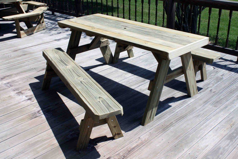 Garden And Patio Diy Patio Picnic Bench Table Set With Solid